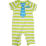 cute green stripes with blue tie onesie