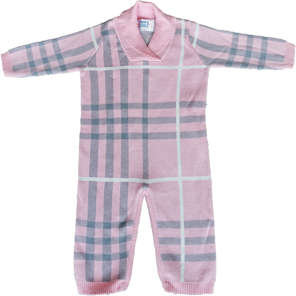 Pink plaid baby girls knitwear