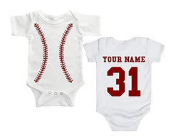 Personalized Baseball Baby Body Suit