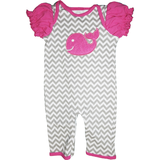 Pink whale on chevron pattern zippy onez