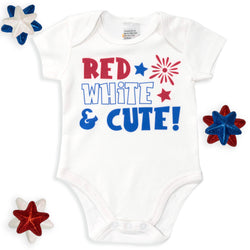 Red, White, and Cute Baby Bodysuit