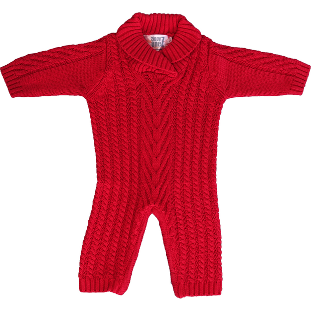 Red one piece knitwear for babies