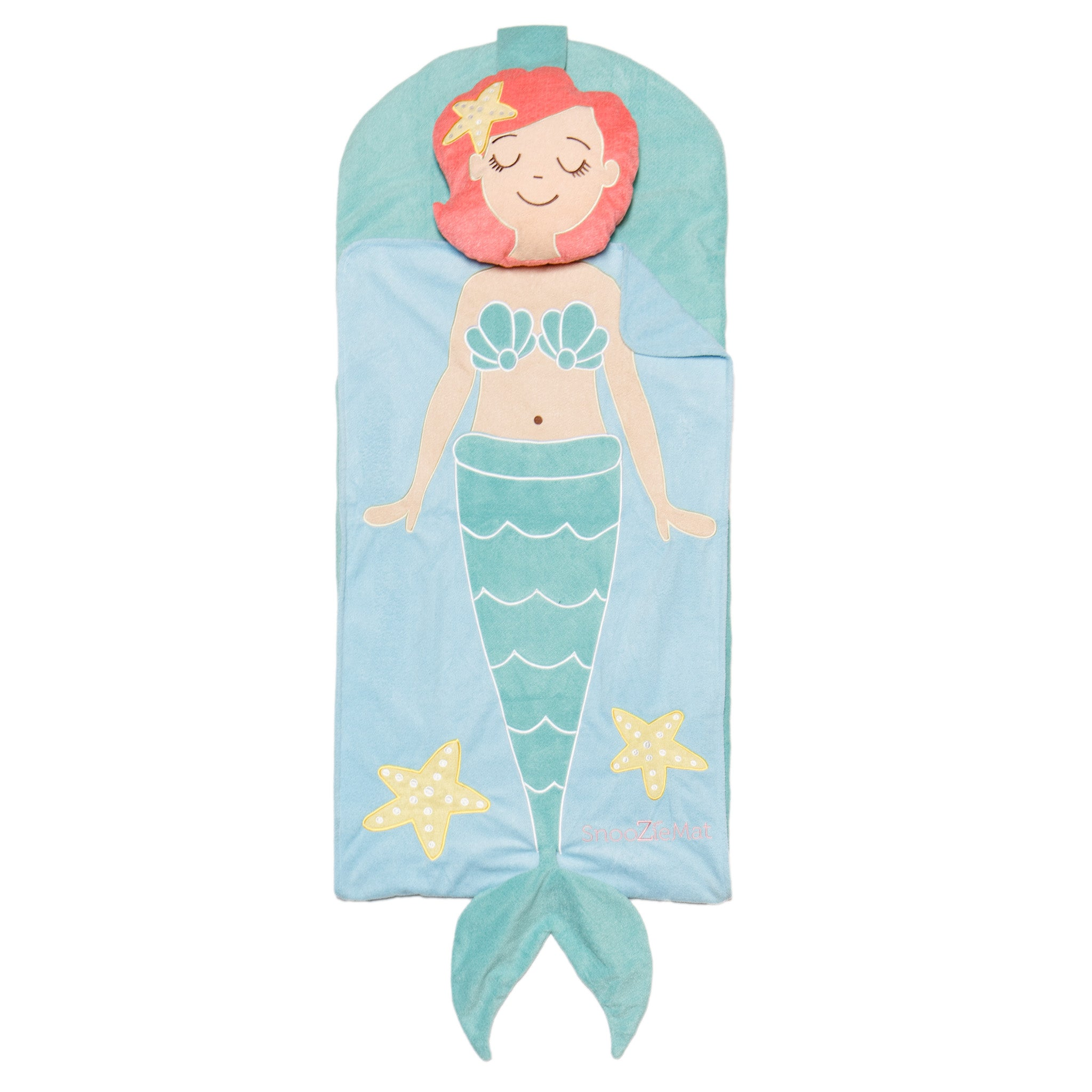 Pearl the Mermaid SnooZieMat Sleeping Bag by Sleeping Baby Take Pearl the Mermaid for your sleepovers!  The SnooZieMat is a clever nap time on-the-go solution. This easy-to-pack sleeping bag is ideal for school naps, sleepovers, and blanket forts. Once your child is done snoozing, roll it up and keep moving.     48 x24  mat rolls into a 12 x16  backpack (Bottom mat is roughly 1.5 inches thick)      Fabric: 100% poly      Machine washable    The SnooZieMat is machine washable, for best results remove the pillow insert before washing.   - Pearl the Mermaid SnooZieMat Sleeping Bag by Sleeping Baby