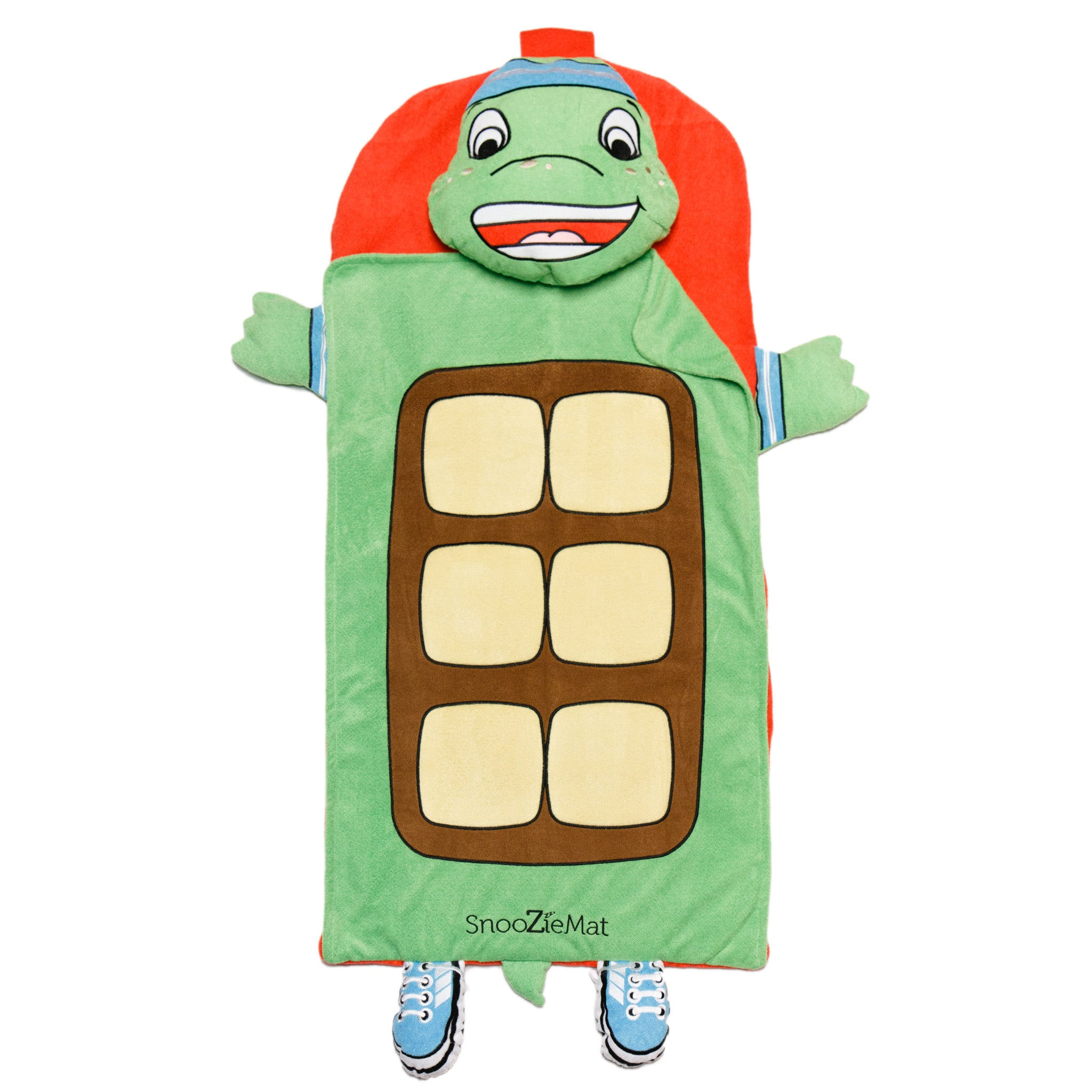 Timmy the Tortoise SnoozieMat Sleeping Bag by Sleeping Baby Say hello to Timmy the Tortoise! The SnooZieMat is a clever nap time on-the-go solution. This easy-to-pack sleeping bag is ideal for school naps, sleepovers, and blanket forts. Once your child is done snoozing, roll it up and keep moving.   48 x24  mat rolls into a 12 x16  backpack(Bottom mat is roughly 1.5 inches thick) Fabric: 100% poly Machine washable  The SnooZieMat is machine washable, for best results remove the pillow insert before washing.   - Timmy the Tortoise SnoozieMat Sleeping Bag by Sleeping Baby