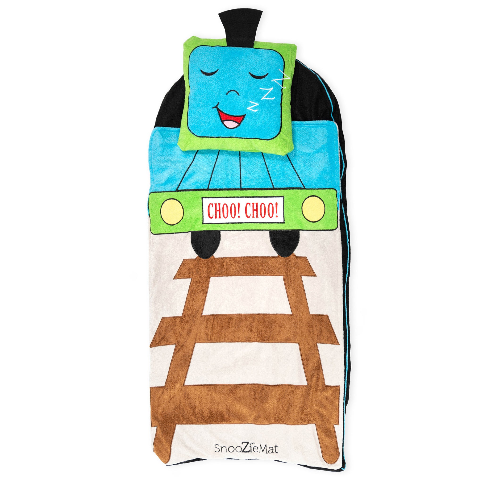 Choo Choo The Train SnooZieMat Sleeping Bag by Sleeping Baby Meet Choo Choo the Train and take him for your trip! The SnooZieMat is a clever nap time on-the-go solution. This easy-to-pack sleeping bag is ideal for school naps, sleepovers, and blanket forts. Once your child is done snoozing, roll it up and keep moving.   48 x24  mat rolls into a 12 x16  backpack(Bottom mat is roughly 1.5 inches thick) Fabric: 100% poly Machine washable  The SnooZieMat is machine washable, for best results remove the pillow insert before washing.  - Choo Choo The Train SnooZieMat Sleeping Bag by Sleeping Baby