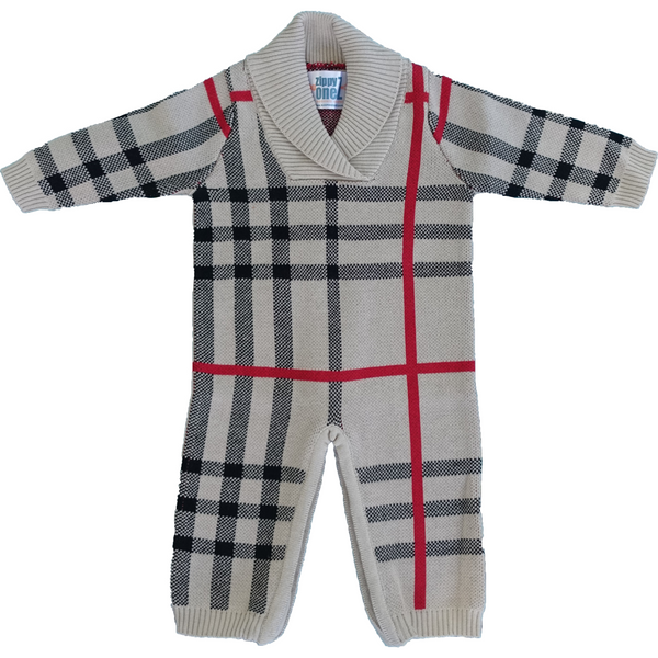 Classic tartan knitted baby outfit