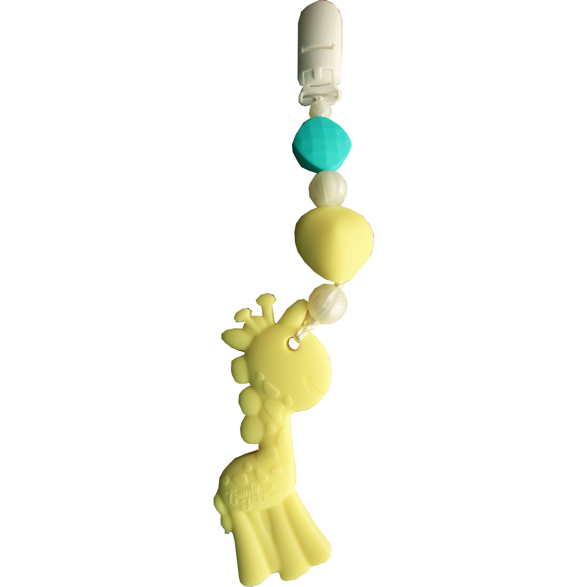 Gabriel Giraffe Wearable Clip-On Teether by Sleeping Baby Trendy Teethers are unique, one of a kind, teething necklaces, pacifier clips and attachable baby teethers designed by Stephanie Parker, the creator of the Zipadee-Zip!  Perfect as a sensory tool and to prevent scratching during nursing and great to soothe those little gums during teething. SUPER SAFE FOR BABY! Conforms to safety standards: ASTMF963 and 16CFR and is made from 100% silicone with nylon string for the necklaces and ribbon for the teethers and pacifier clips. No BPA,phalates, PVC, cadmium, or lead. Only attach to clothing. Do not attach to cords, bands or belts that could cause a strangulation hazard. Necklaces are to be worn by adults only for babies to chew on. Do not place around a baby's neck. Easily cleaned with soap and water! This is not a toy or a traditional teether.  We'd love to see real mommas and babies stylin' with their Trendy Teethers(tm) so be sure to share your photo on our facebook page here: https://www.facebook.com/sleepingbabyinc/ -  Gabriel Giraffe  Wearable Clip-On Teether by Sleeping Baby