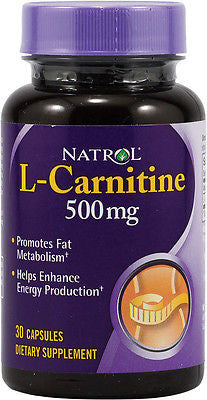 Natrol L-CARNITINE 500mg Fat Burner & Energy 30 Capsules