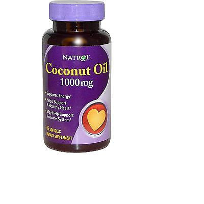 Natrol COCONUT OIL 1000mg  ENERGY Heart Support - 45 Softgels - IMMUNE BOOST