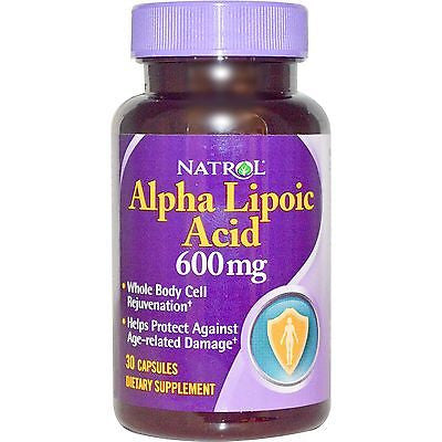 Natrol ALPHA LIPOIC ACID 600 mg Anti-Aging 30 Capsules POWERFUL ANTIOXIDANT