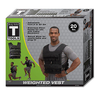 Body Solid 20 lb Adjustable WEIGHT VEST - BSTWV20 Crossfit Plyometric Exercise
