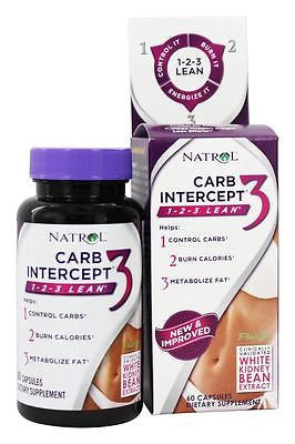 Natrol CARB INTERCEPT 3 Fat Burner with White Kidney Bean Extract - 60 capsules