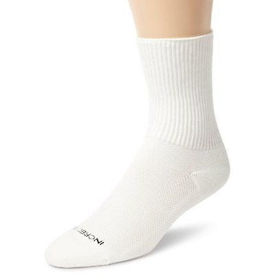 Incredisocks Rx Diabetic Anti-Microbial Circulation Crew Socks WHITE - MEDIUM