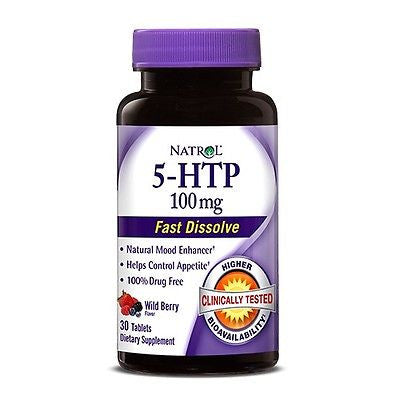 Natrol 5-HTP 100mg Fast Dissolve Mood Enhancer WILD BERRY 30 Tablets