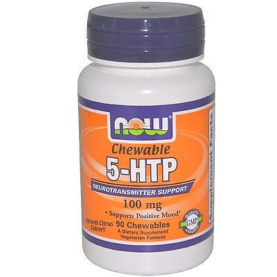Now Foods 5-HTP 100 mg - 90 chewable lozenges - RELIEVE STRESS & BOOST MOOD