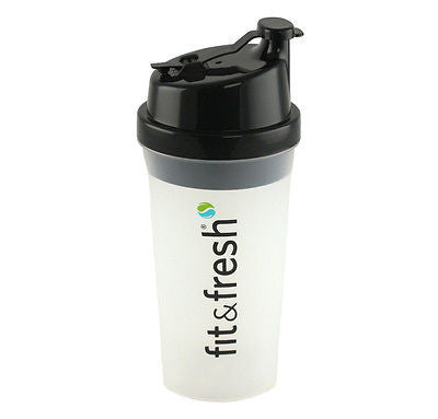 Fit & Fresh 20 oz POWER  SHAKER Protein Blender Mixer Bottle Cup Black  BPA free