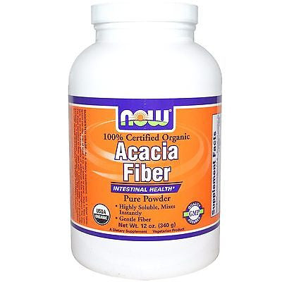 Now Foods ACACIA FIBER Organic Vegan Powder 12 oz INTESTINAL HEALTH, REGULARITY