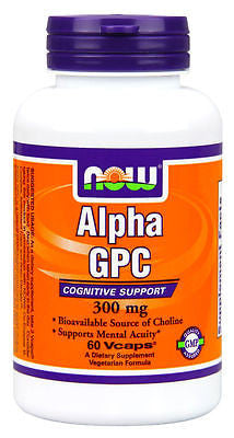 Now Foods ALPHA GPC 300 mg - 60 caps BOOST BRAIN FUNCTION, MEMORY, MENTAL ACUITY