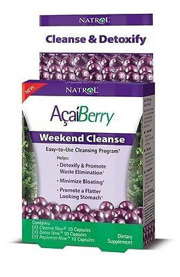 Natrol AcaiBerry WEEKEND CLEANSE & DETOX - 30 Total Capsules - FEEL GREAT