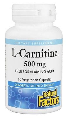 Natural Factors L-CARNITINE 500mg, 60 capsules Converts Fat to Energy Amino Acid
