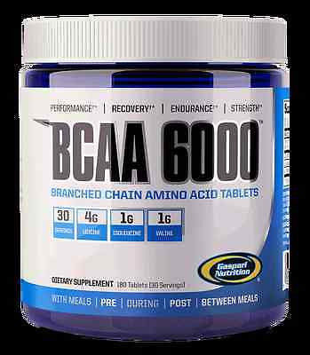 Gaspari Nutrition BCAA 6000 180 Tablets AMINO ACID B-12 POWERHOUSE B-6