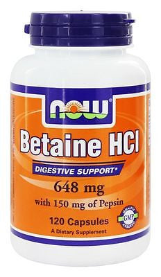 NOW Foods  BETAINE HCL Hydrocloride with Pepsin Digestive Enzymes - 120 Capsules