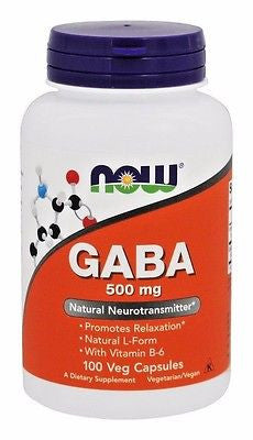 NOW Foods GABA 500mg + Vitamin B6 - 100 VCaps RELAX, RELIEVE TENSION