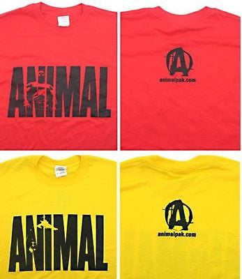 Universal Nutrition Animal Pak TEE SHIRT Bodybuilding T Shirt RED or YELLOW