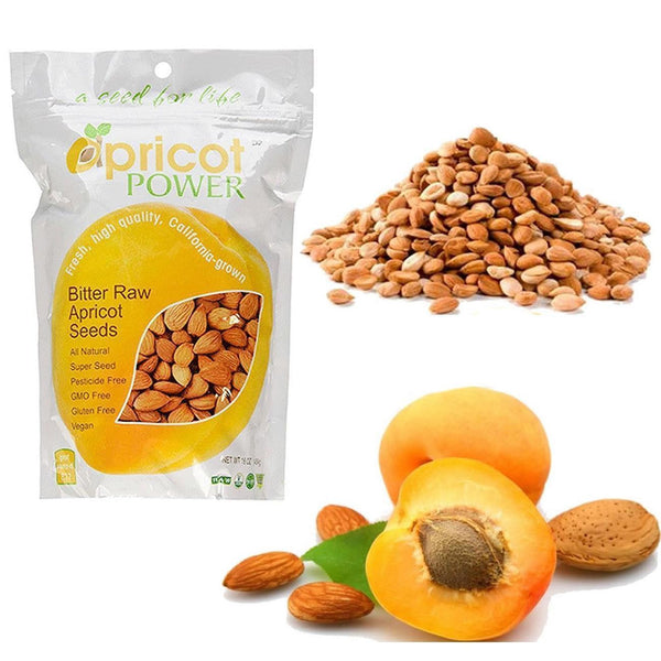 Apricot Power Bitter Raw Apricot Kernels Seeds - 32 oz B-17 AMYGDALIN SUPER SEED
