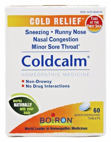 Boiron ColdCalm Cold Relief Non-Drowsy Formula Natural Homeopathic - 60 tablets