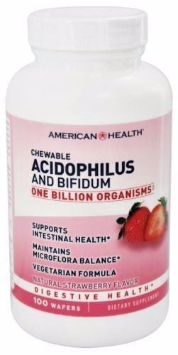 American Health ACIDOPHILUS with Bifidus - 100 Chewable Wafers DIGESTIVE HEALTH