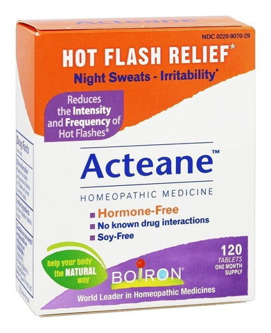 Boiron ACTEANE for Hot Flashes - 120 tabs - Night Sweats & IRRITABILITY Relief