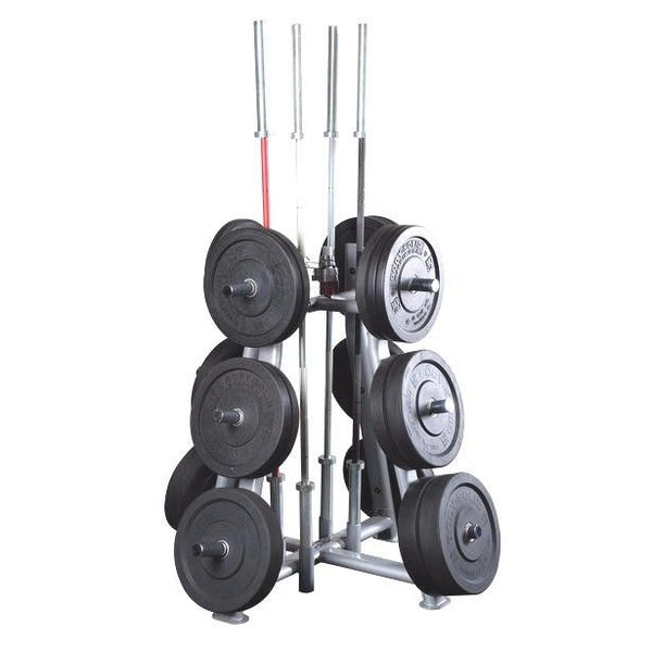 Body Solid SWT1000 Olympic Bumper Plate Weight Tree Barbell Holder Pro Gym Rack