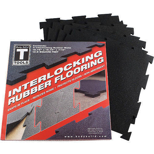 "BodySolid Interlocking Rubber Flooring 4 Puzzle Mats, 19.5"" X 19.5""  RFBST4PB"
