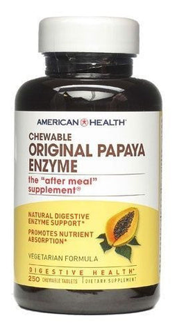 American Health Original PAPAYA ENZYME - 250 Chewable Tablets DIGESTIVE HEALTH