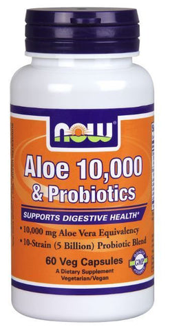 NOW Foods ALOE 10,000 & Probiotics Digestive Health 60 Veg Capsules