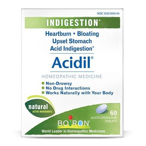 Boiron ACIDIL Indigestion Heartburn Bloating Upset Stomach - 60 tablets