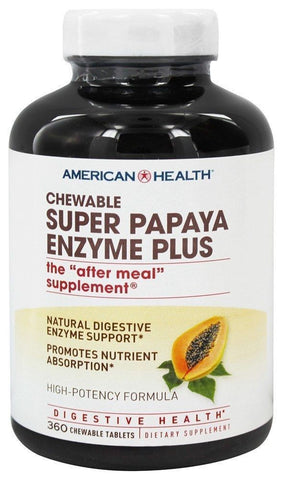American Health SUPER PAPAYA ENZYME PLUS - 360 Chewable Tablets DIGESTION AID