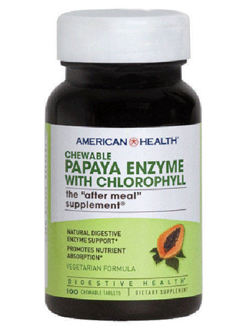 American Health PAPAYA ENZYME w/Chlorophyll - 100 Chewable Tabs DIGESTIVE HEALTH