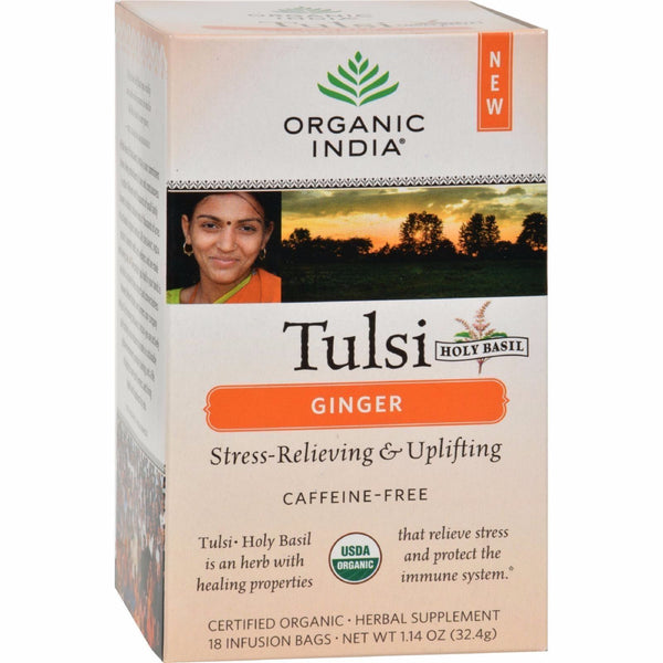 Organic India TULSI TEA GINGER Stress-Relief Energy Holy Basil 18 Bags