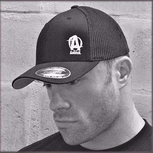 Universal ANIMAL MESH FLEXFIT CAP - Black Bodybuilder Hat, One Size Fits Most