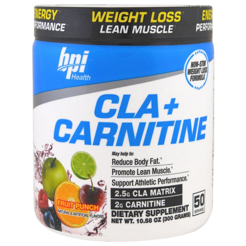 BPI Sports CLA + CARNITINE Non-Stim Weight Loss Fat Burner 50 Servings 4 FLAVORS