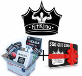 FITKING Gift Card + MDUSA GET FIT Gift Basket - Speed Rope, Knee & Wrist Wraps, Chalk