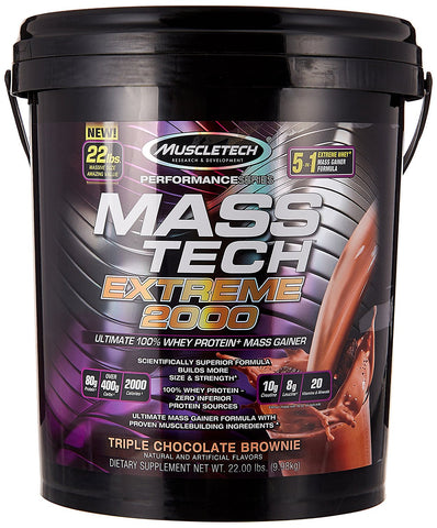 MuscleTech MASS-TECH Extreme 2000 Weight Gainer Mass Protein Powder 22 lbs.