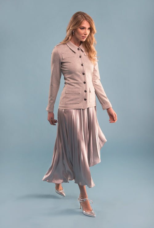 Silk Asymmetrical Pleated Skirt