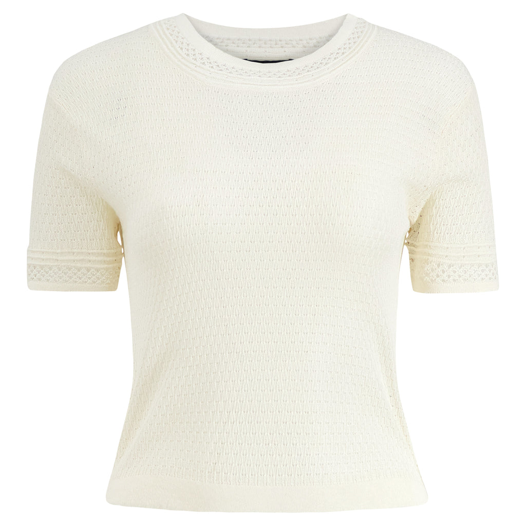 Silk Cashmere Lace Knit T-Shirt