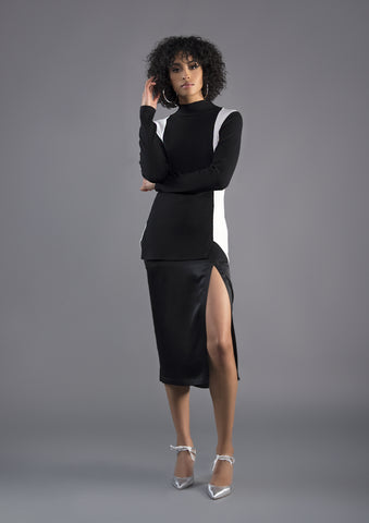 One Sleeved Bamboo Midi Dress