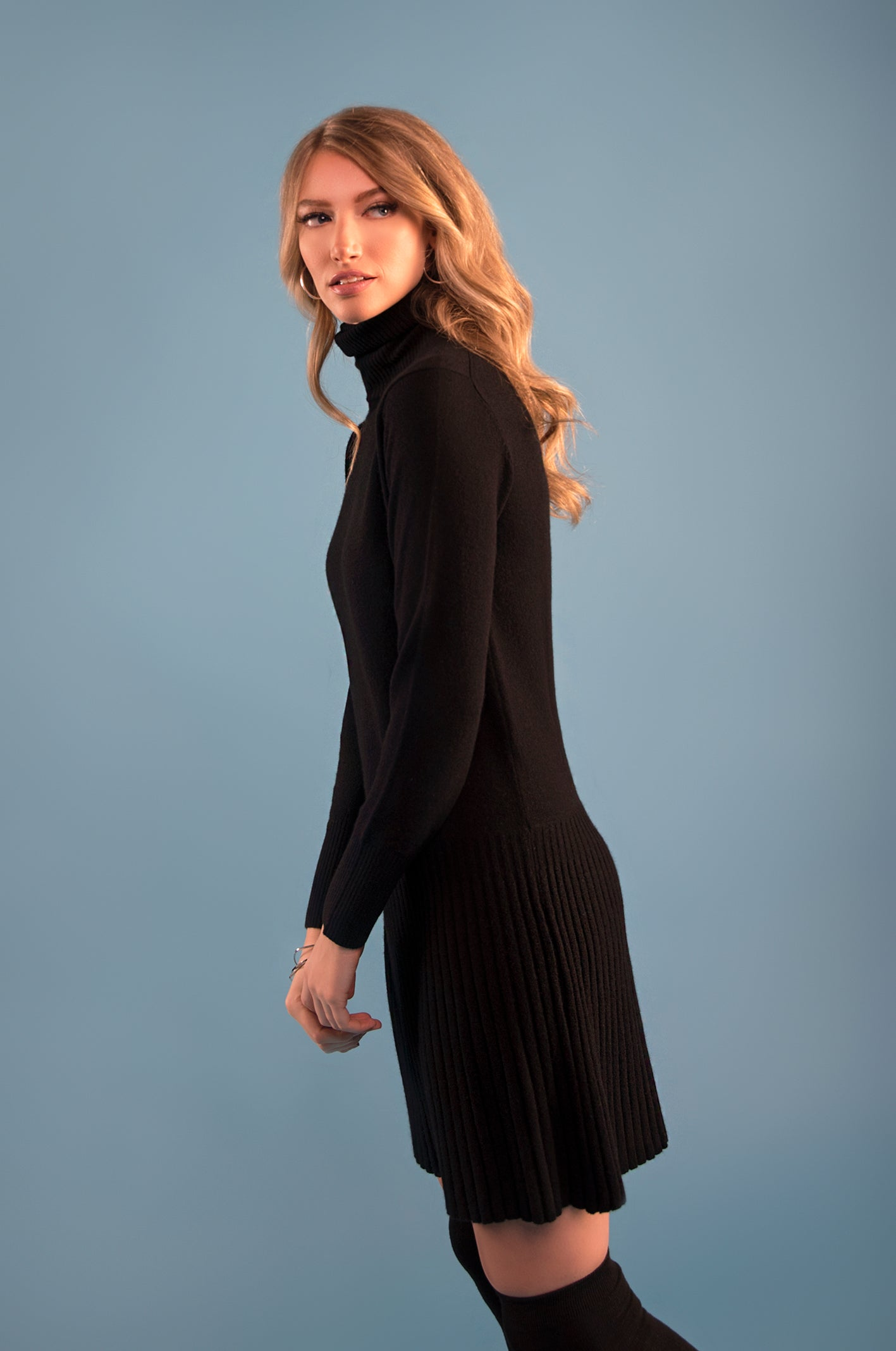 Cashmere Pleated Turtleneck Dress