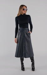 Genuine Leather Snap Skirt