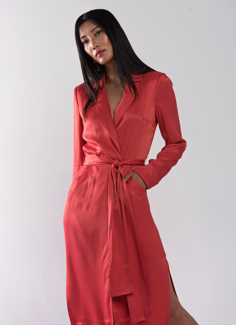 Coral Satin Trench Jacket